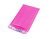 pink poly bubble mailer front view